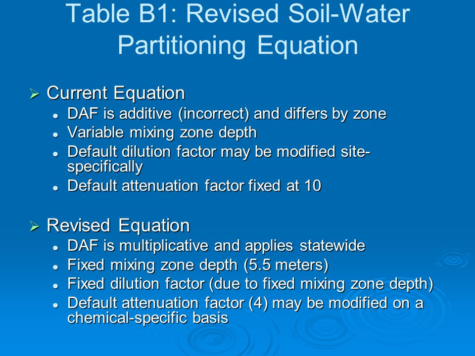 Table B1: Revised Soil-Water Partitioning Equation  Current Equation DAF is additive (incorrect) and differs by zone DAF is additive (incorrect) and differs by zone Variable mixing zone depth Variable mixing zone depth Default dilution factor may be modified site- specifically Default dilution factor may be modified site- specifically Default attenuation factor fixed at 10 Default attenuation factor fixed at 10  Revised Equation DAF is multiplicative and applies statewide DAF is multiplicative and applies statewide Fixed mixing zone depth (5.5 meters) Fixed mixing zone depth (5.5 meters) Fixed dilution factor (due to fixed mixing zone depth) Fixed dilution factor (due to fixed mixing zone depth) Default attenuation factor (4) may be modified on a chemical-specific basis Default attenuation factor (4) may be modified on a chemical-specific basis