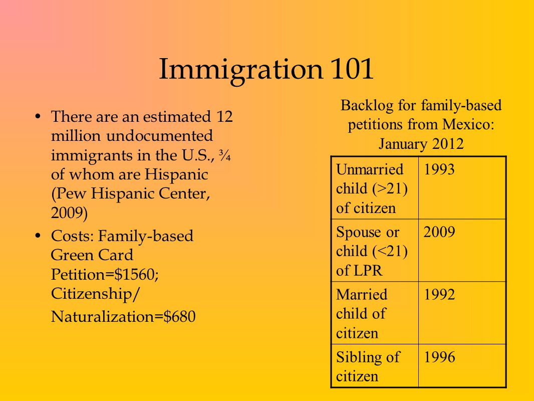 Immigration 101 There are an estimated 12 million undocumented immigrants in the U.S., ¾ of whom are Hispanic (Pew Hispanic Center, 2009) Costs: Family-based Green Card Petition=$1560; Citizenship/ Naturalization=$680 Backlog for family-based petitions from Mexico: January 2012 Unmarried child (>21) of citizen 1993 Spouse or child (<21) of LPR 2009 Married child of citizen 1992 Sibling of citizen 1996