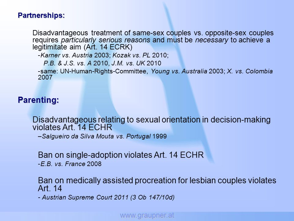 www.graupner.at Partnerships: Disadvantageous treatment of same-sex couples vs.