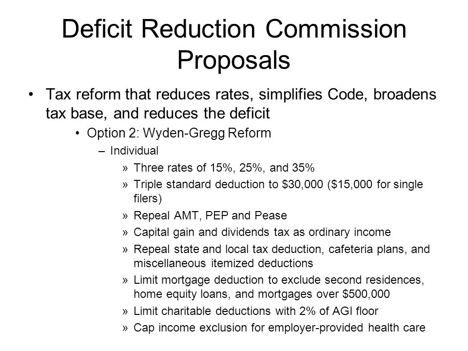 Deficit Reduction Commission Proposals Tax reform that reduces rates, simplifies Code, broadens tax base, and reduces the deficit Option 2: Wyden-Gregg Reform –Individual »Three rates of 15%, 25%, and 35% »Triple standard deduction to $30,000 ($15,000 for single filers) »Repeal AMT, PEP and Pease »Capital gain and dividends tax as ordinary income »Repeal state and local tax deduction, cafeteria plans, and miscellaneous itemized deductions »Limit mortgage deduction to exclude second residences, home equity loans, and mortgages over $500,000 »Limit charitable deductions with 2% of AGI floor »Cap income exclusion for employer-provided health care
