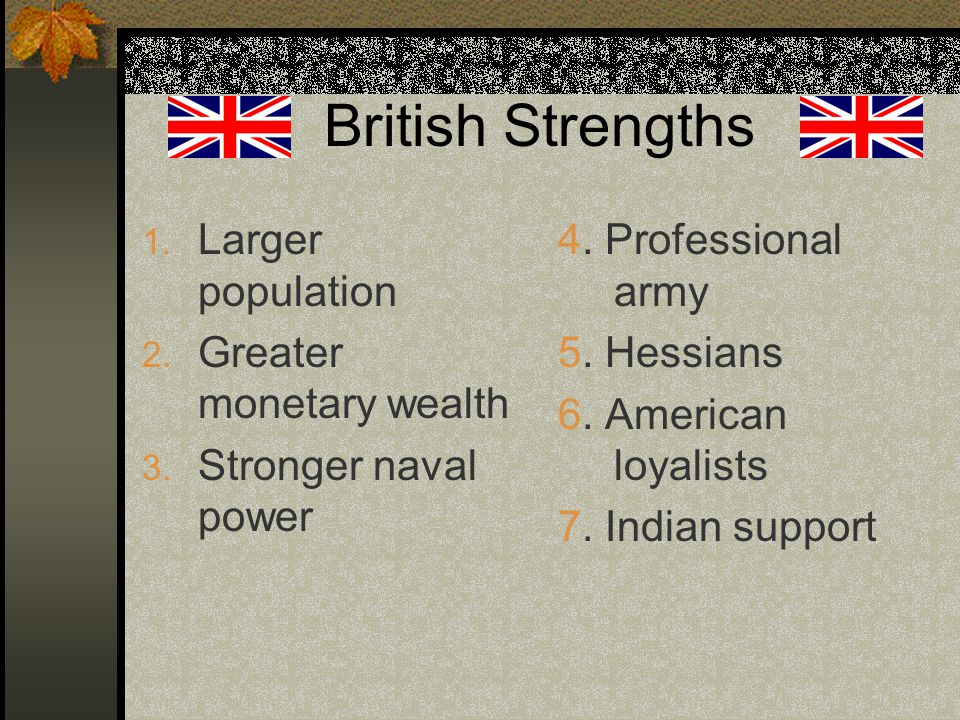 British Strengths 1. Larger population 2. Greater monetary wealth 3.
