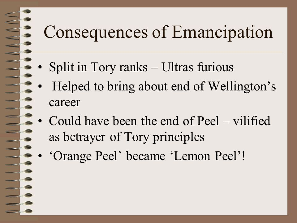Peel's Conversion Peel wrote to Wellington saying that though emancipation was a great danger, civil strife was a greater danger .