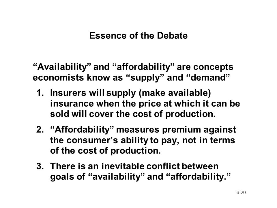 6-20 Essence of the Debate Availability and affordability are concepts economists know as supply and demand 1.Insurers will supply (make available) insurance when the price at which it can be sold will cover the cost of production.