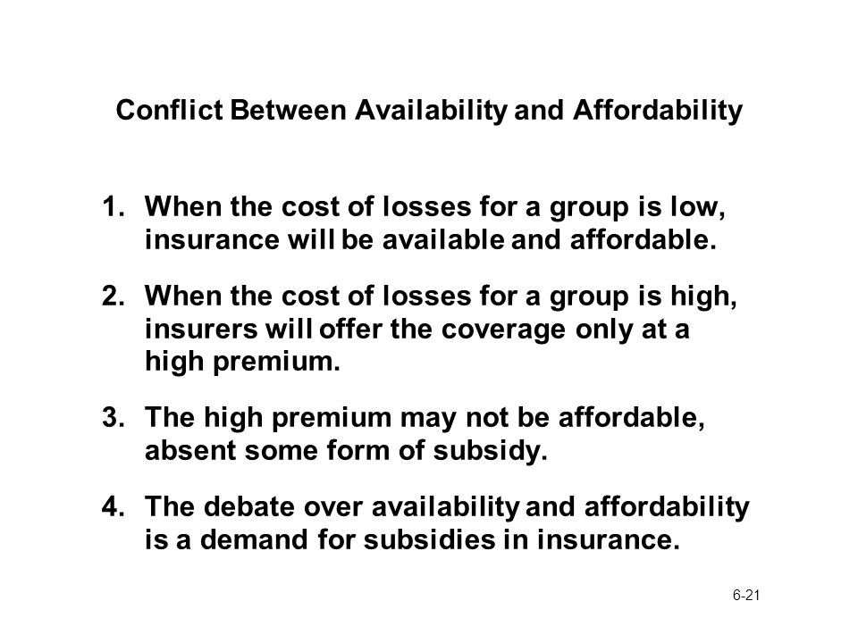 6-21 Conflict Between Availability and Affordability 1.When the cost of losses for a group is low, insurance will be available and affordable.