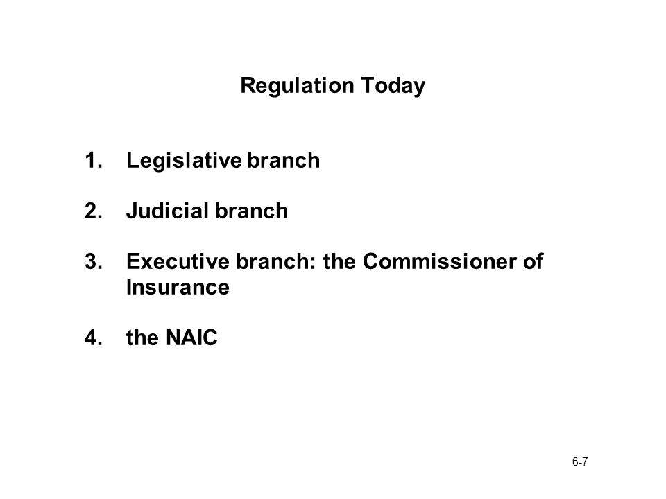 6-7 Regulation Today 1.Legislative branch 2.Judicial branch 3.Executive branch: the Commissioner of Insurance 4.the NAIC