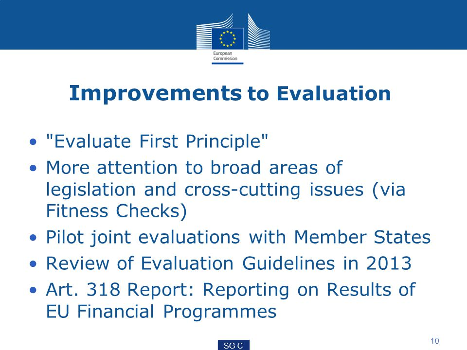 Improvements to Evaluation Evaluate First Principle More attention to broad areas of legislation and cross-cutting issues (via Fitness Checks) Pilot joint evaluations with Member States Review of Evaluation Guidelines in 2013 Art.