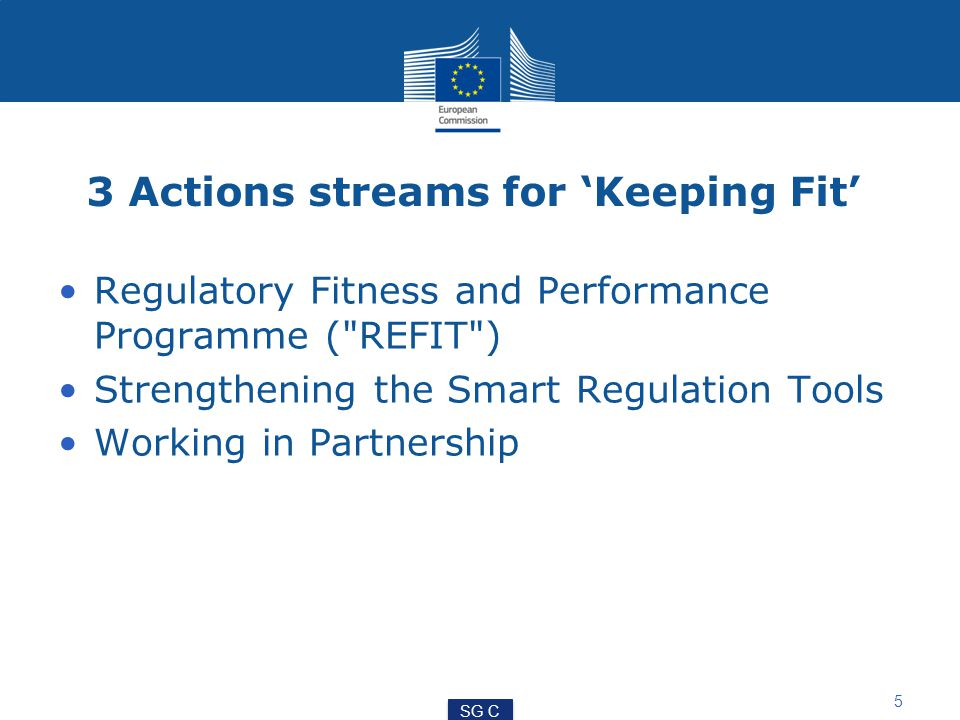 5 3 Actions streams for 'Keeping Fit' Regulatory Fitness and Performance Programme ( REFIT ) Strengthening the Smart Regulation Tools Working in Partnership