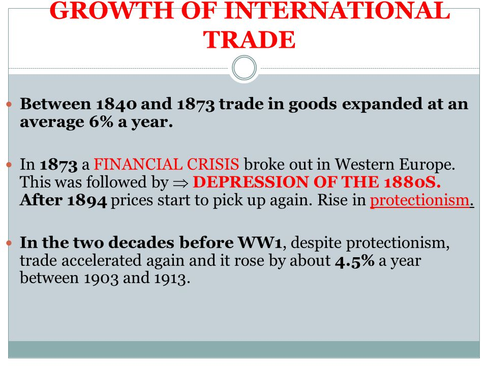 GROWTH OF INTERNATIONAL TRADE Between 1840 and 1873 trade in goods expanded at an average 6% a year.