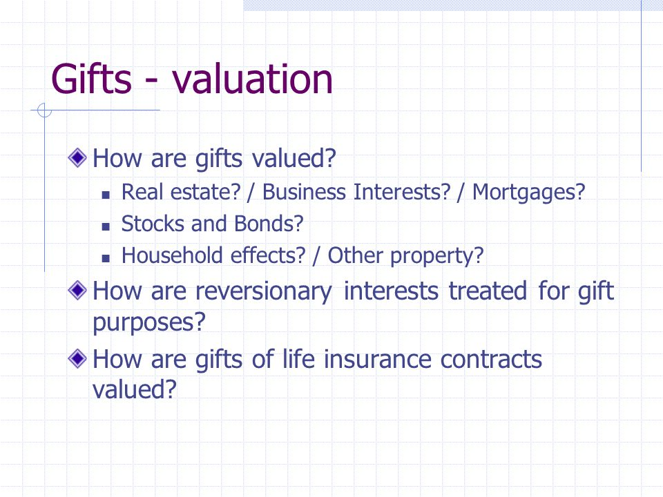 Gifts - valuation How are gifts valued. Real estate.
