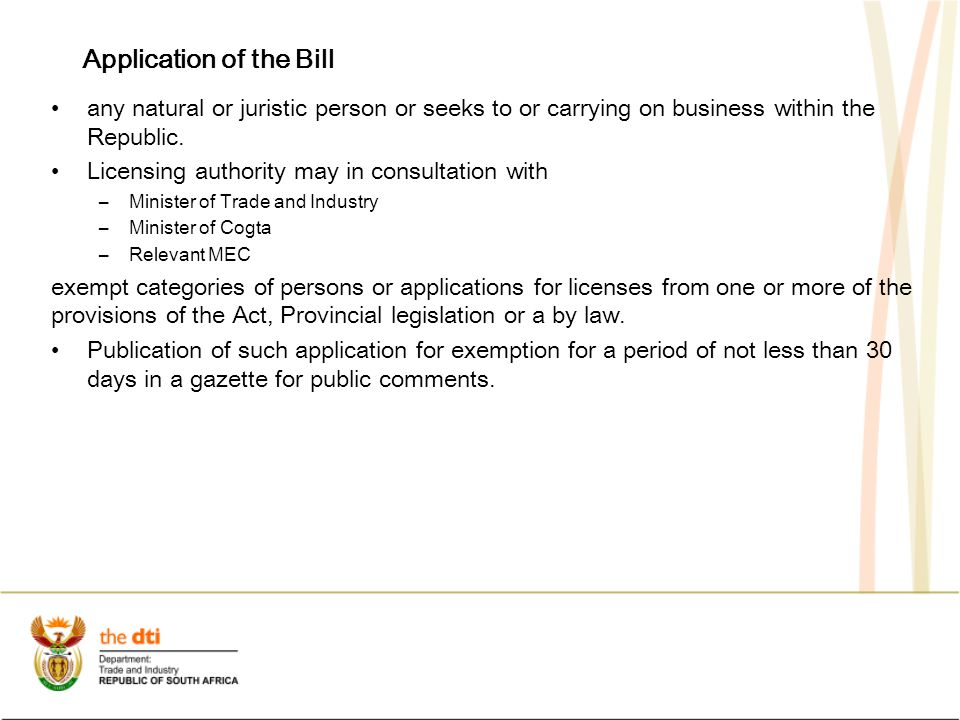 Application of the Bill any natural or juristic person or seeks to or carrying on business within the Republic.