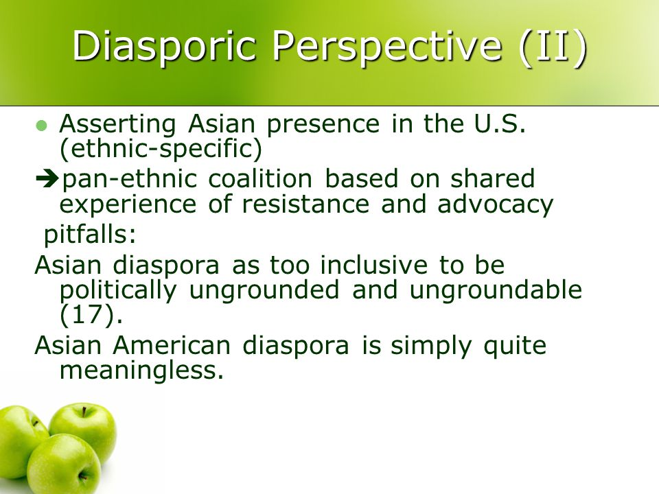 Diasporic Perspective (II) Asserting Asian presence in the U.S.