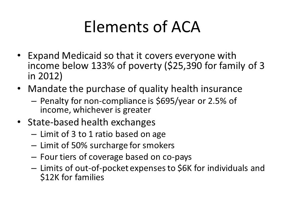 Elements of ACA Expand Medicaid so that it covers everyone with income below 133% of poverty ($25,390 for family of 3 in 2012) Mandate the purchase of quality health insurance – Penalty for non-compliance is $695/year or 2.5% of income, whichever is greater State-based health exchanges – Limit of 3 to 1 ratio based on age – Limit of 50% surcharge for smokers – Four tiers of coverage based on co-pays – Limits of out-of-pocket expenses to $6K for individuals and $12K for families