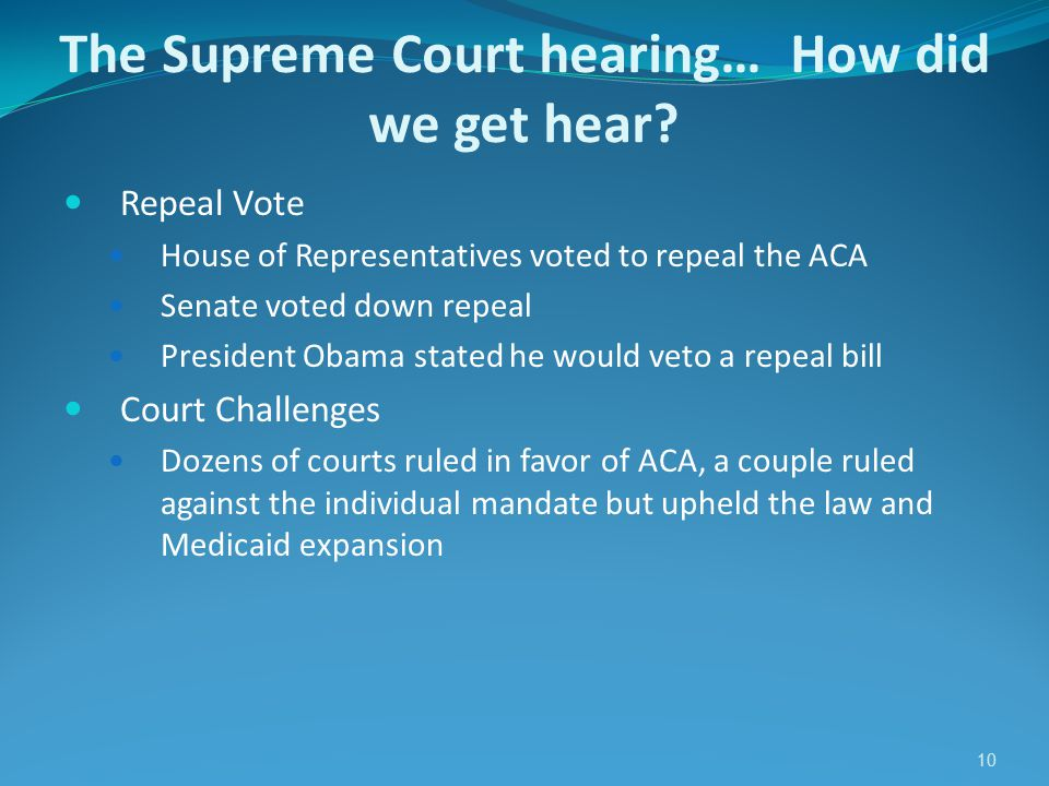 10 The Supreme Court hearing… How did we get hear.