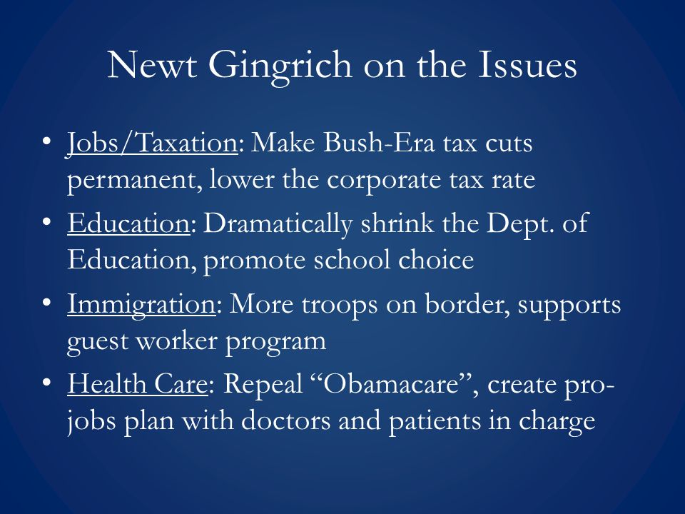 Newt Gingrich on the Issues Abortion: Strongly anti-abortion Financial Aid: No Federal student loans, instead give Block Grant for state to disperse Environment: Humans are responsible, calls for worldwide effort to reduce emissions Foreign Policy: Pro-Iraq war, believes U.S.