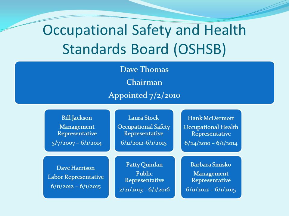OSHSB Staff Executive Officer (Appointed by the Board) Engineering Staff 1 Principal Safety Engineer 4 Senior Safety Engineers 1 Associate Safety Engineer 3 AnalystsLegal CounselSupport Staff