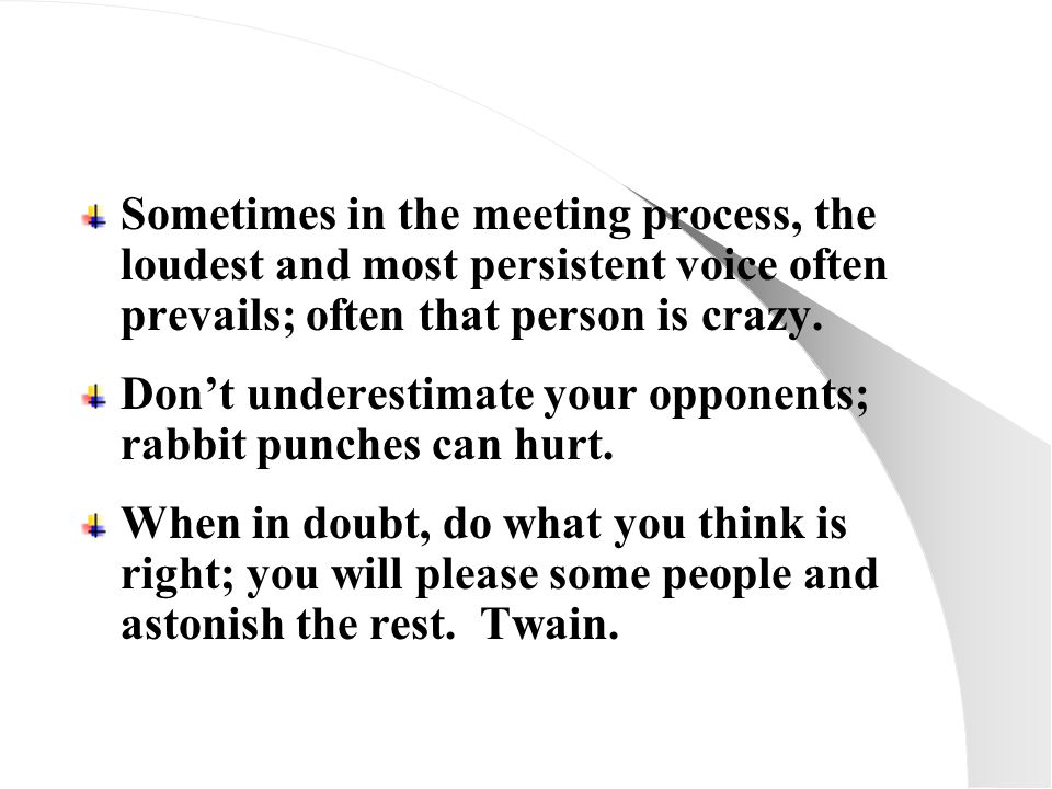 Sometimes in the meeting process, the loudest and most persistent voice often prevails; often that person is crazy.