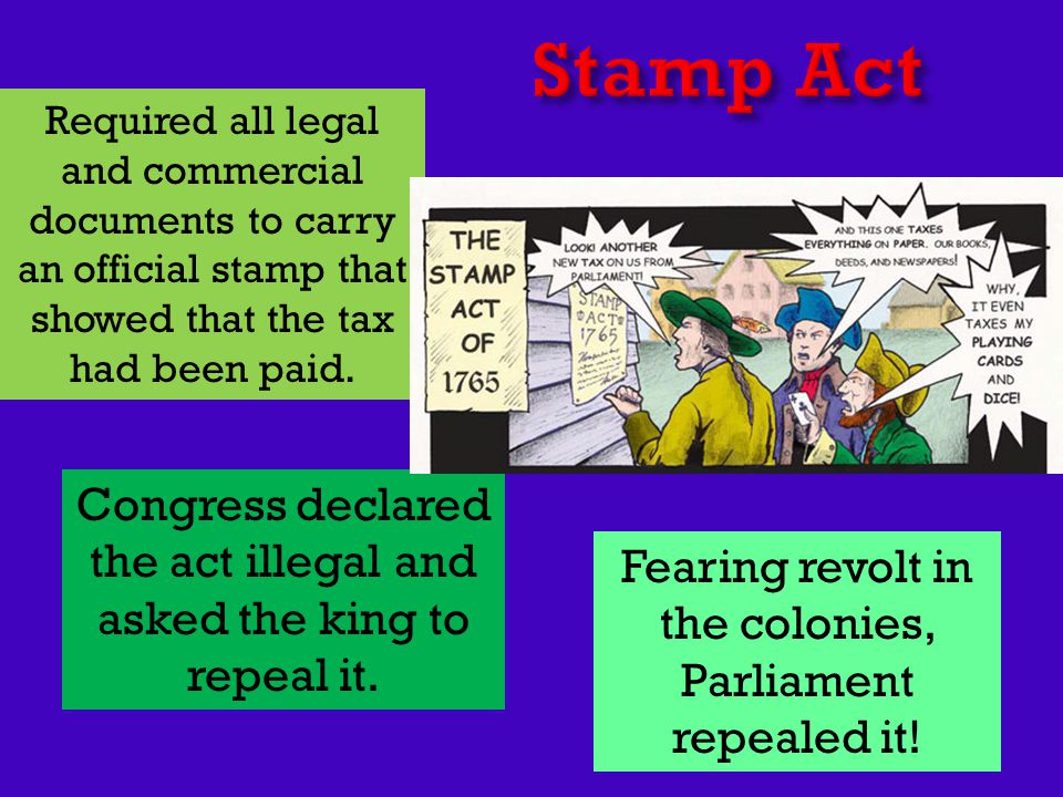 Required all legal and commercial documents to carry an official stamp that showed that the tax had been paid. Congress declared the act illegal and a