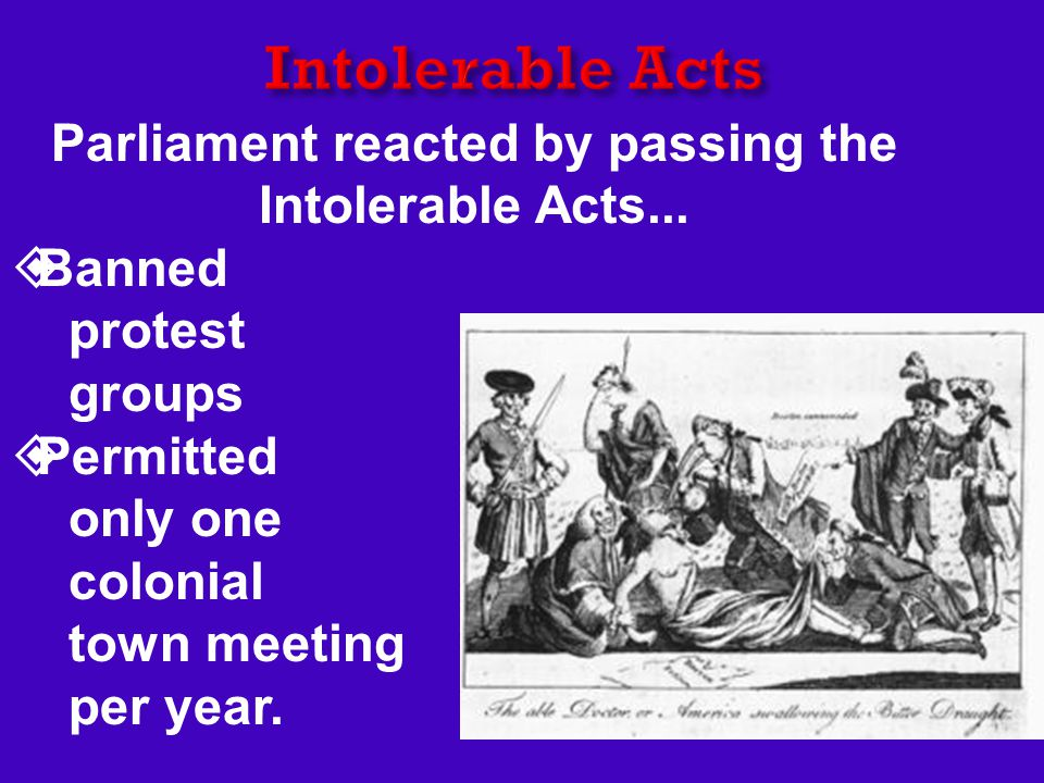 Parliament reacted by passing the Intolerable Acts...