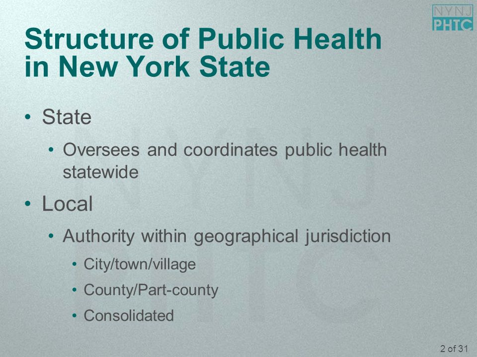 3 of 31 NYS Department of Health Powers and Duties (PHL § 201) Supervise local health departments Supervise reporting and control of disease Supervise vital records (deaths, births and marriages) Promote education in the prevention and control of disease
