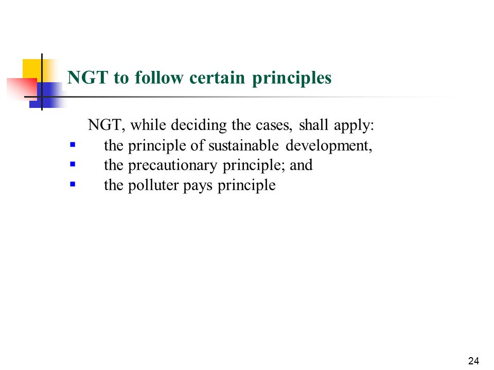 NGT to follow certain principles NGT, while deciding the cases, shall apply:  the principle of sustainable development,  the precautionary principle; and  the polluter pays principle 24