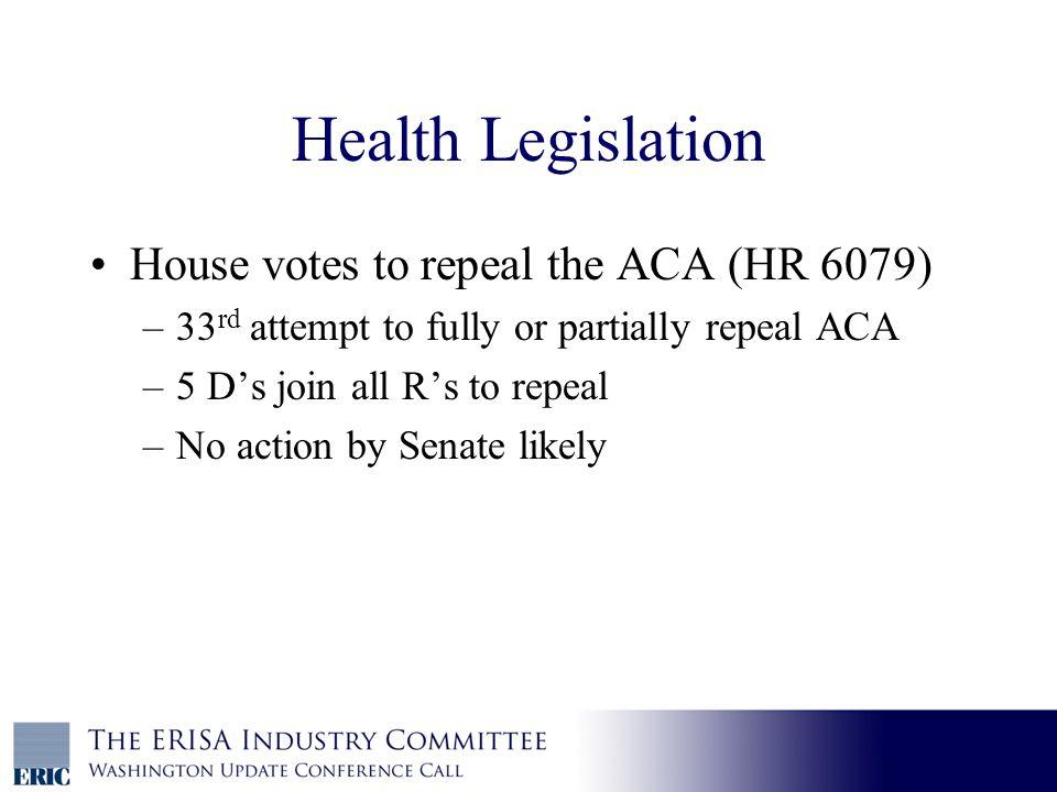 Health Legislation, cont.