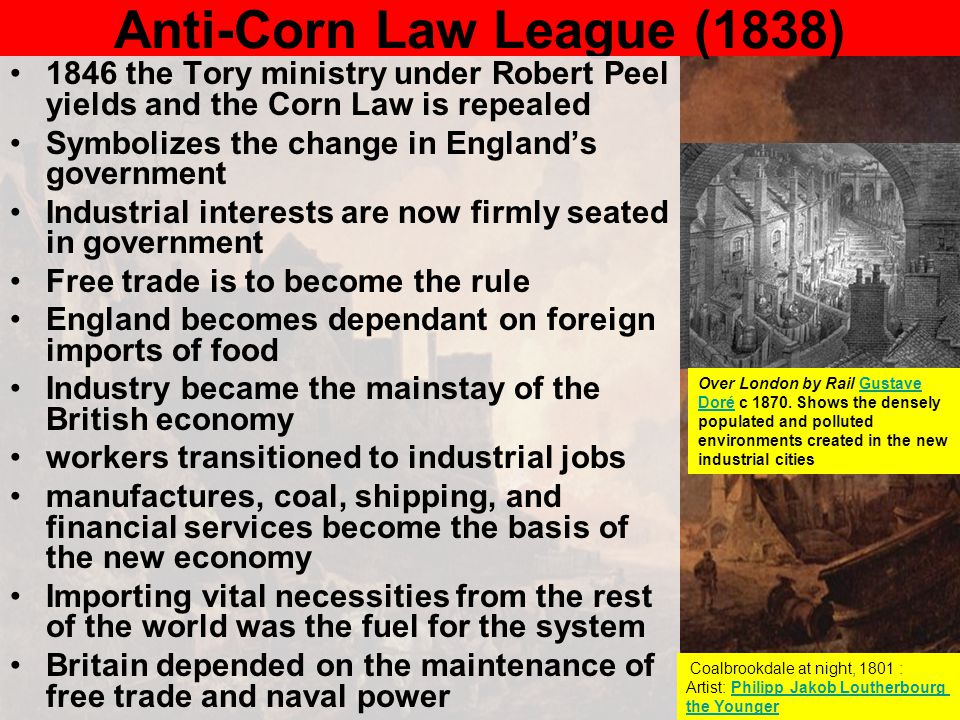 Anti-Corn Law League (1838) 1846 the Tory ministry under Robert Peel yields and the Corn Law is repealed Symbolizes the change in England's government
