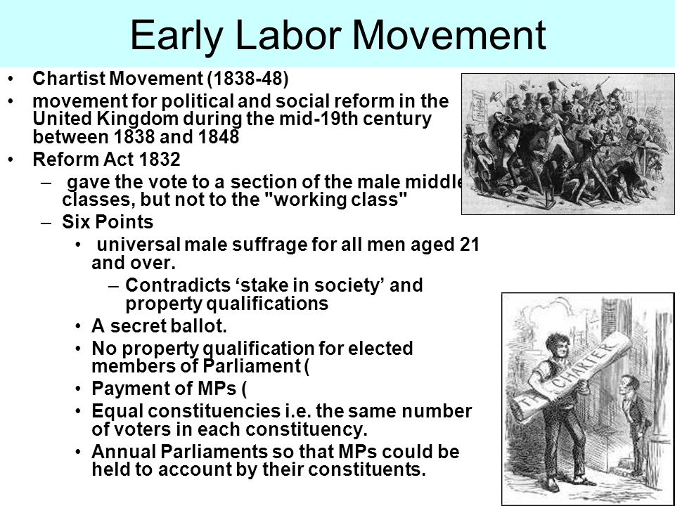 Chartist Movement (1838-48) movement for political and social reform in the United Kingdom during the mid-19th century between 1838 and 1848 Reform Ac