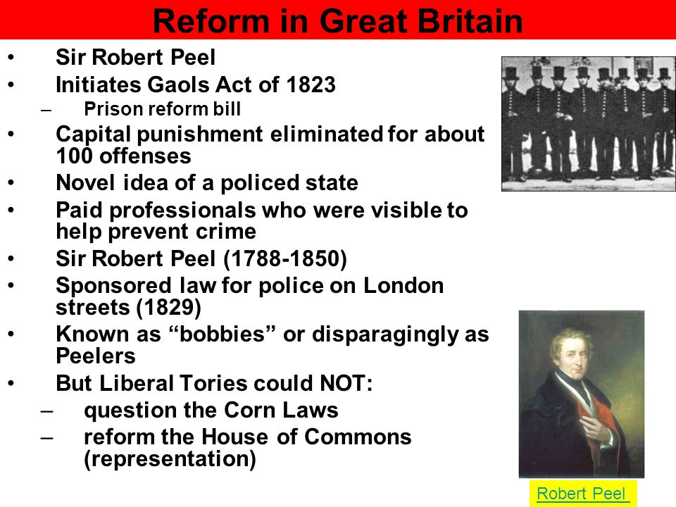 Problems of Representation House of Commons does not represent the population or economy Rotten Boroughs –Some boroughs were empty and had representation –one was under water in the North Sea New factory towns were un-represented (Manchester) Whigs propose reform bill on elections Tories under Wellington (victor of Waterloo was most extreme conservative) refuse to act Arthur Wellesley, 1st Duke of Wellington