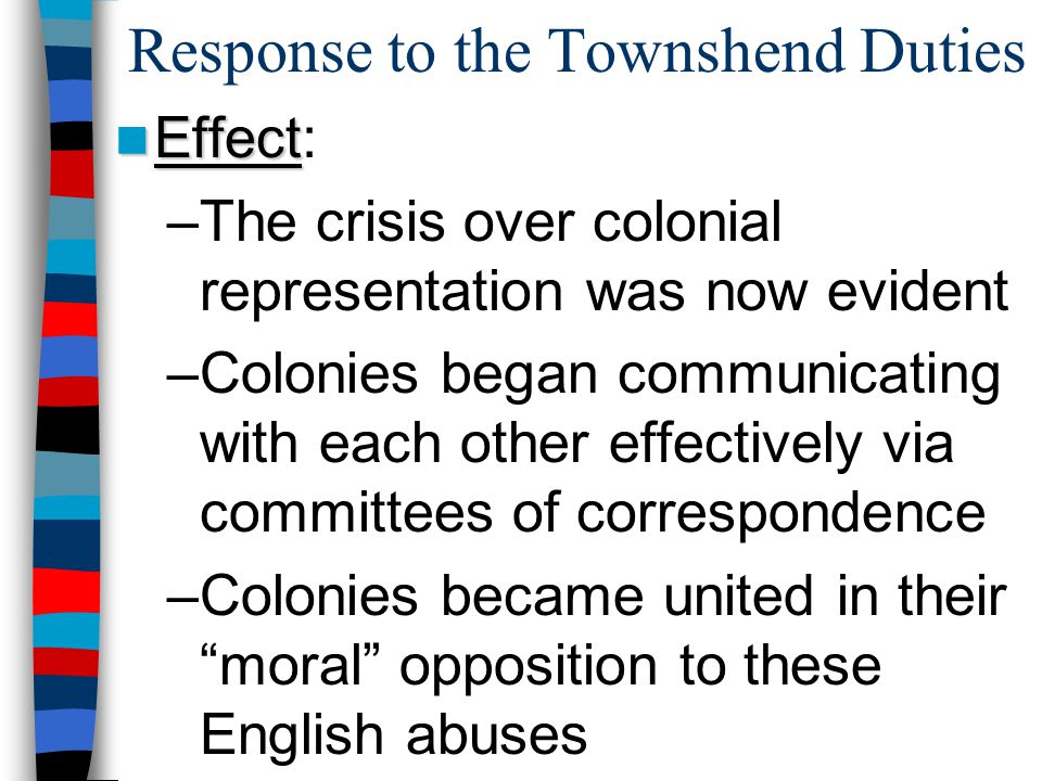 Response to the Townshend Duties Effect Effect: –The crisis over colonial representation was now evident –Colonies began communicating with each other