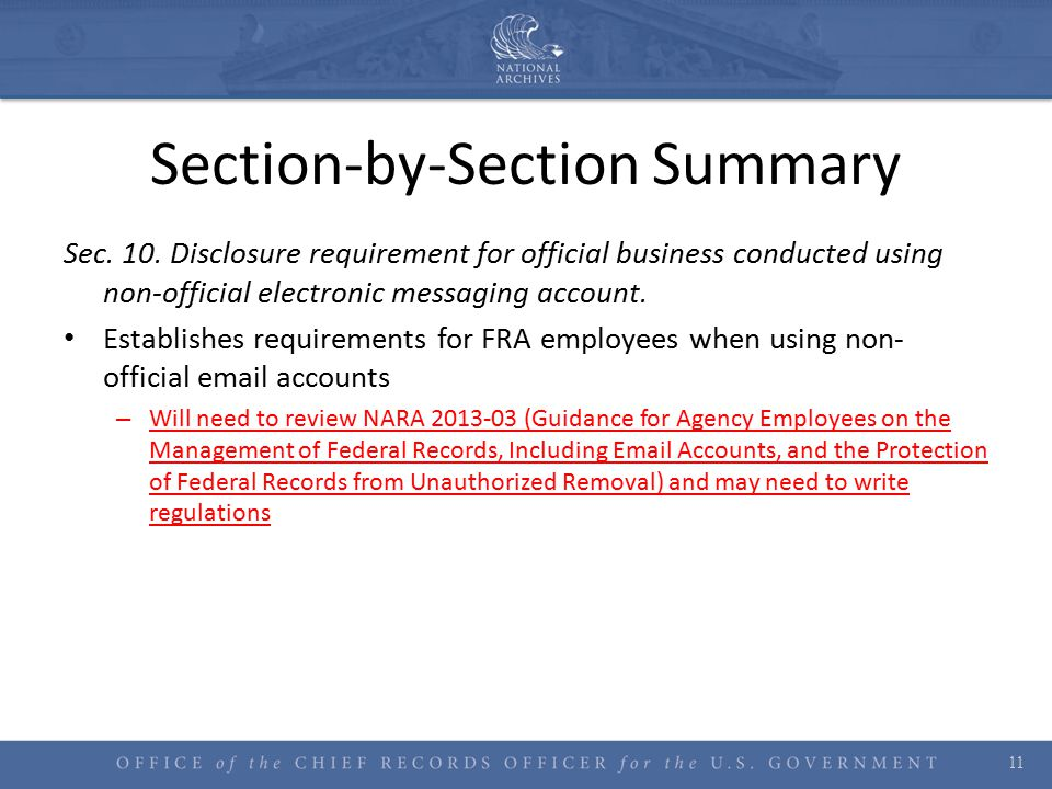 Section-by-Section Summary Sec. 10.