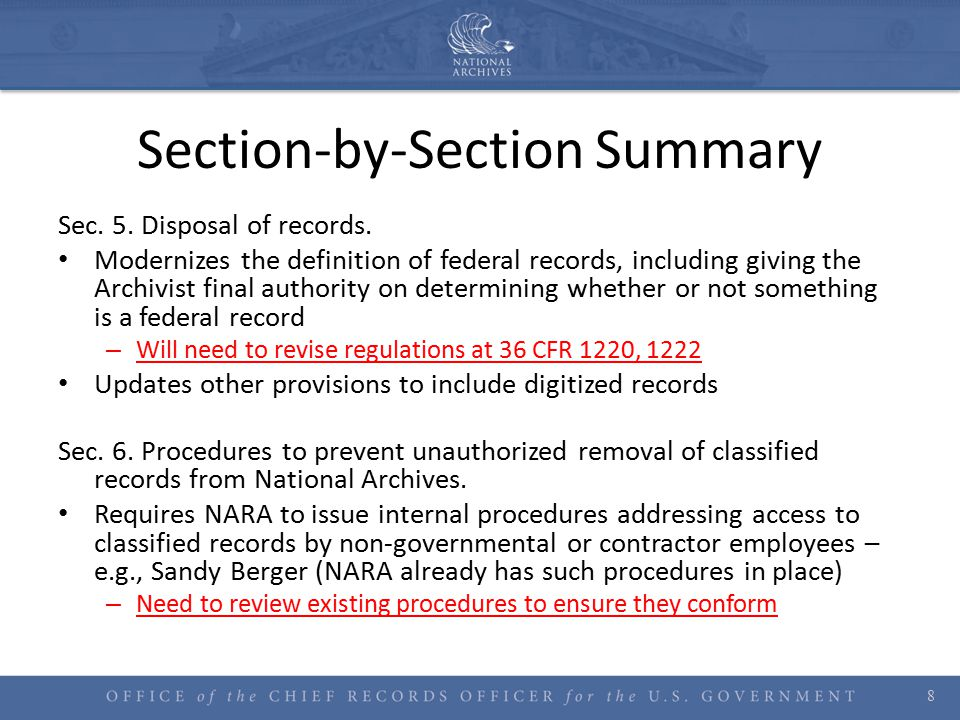 Section-by-Section Summary Sec.5. Disposal of records.