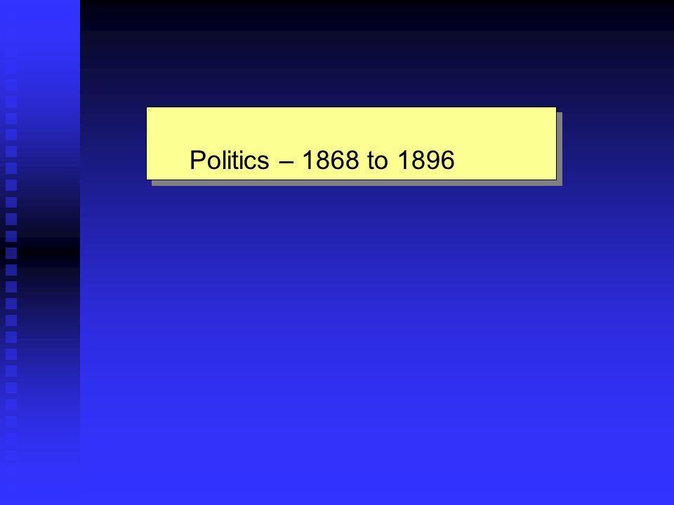 Politics – 1868 to 1896 Politics – 1868 to 1896