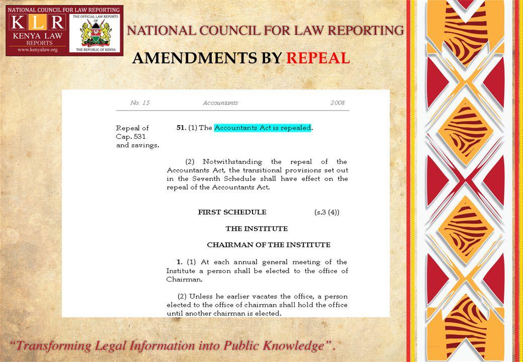 AMENDMENTS BY REPEAL