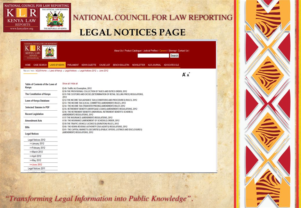 LEGAL NOTICES PAGE