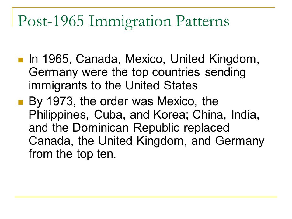 Post-1965 Immigration Patterns In 1965, Canada, Mexico, United Kingdom, Germany were the top countries sending immigrants to the United States By 1973, the order was Mexico, the Philippines, Cuba, and Korea; China, India, and the Dominican Republic replaced Canada, the United Kingdom, and Germany from the top ten.
