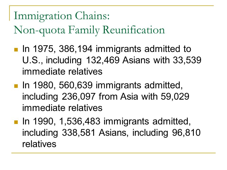 Immigration Chains: Non-quota Family Reunification In 1975, 386,194 immigrants admitted to U.S., including 132,469 Asians with 33,539 immediate relati