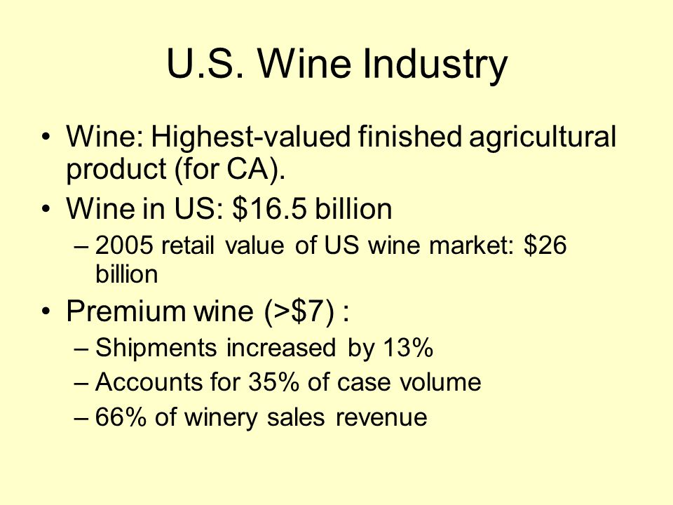 U.S. Wine Industry Wine: Highest-valued finished agricultural product (for CA).