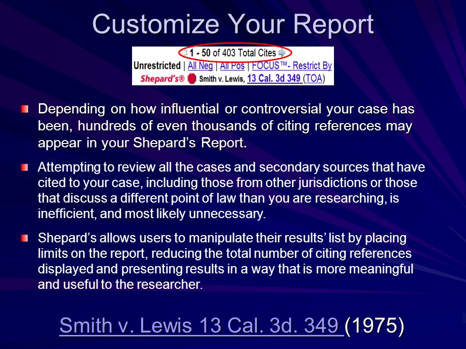 Customize Your Report Smith v. Lewis 13 Cal. 3d.