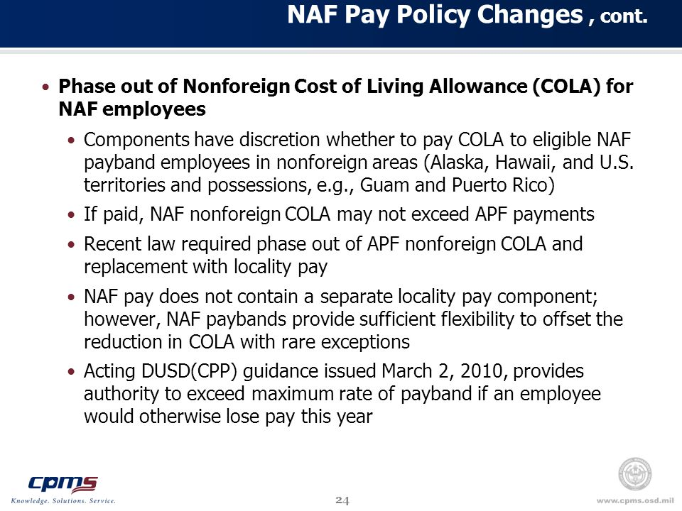24 NAF Pay Policy Changes, cont.