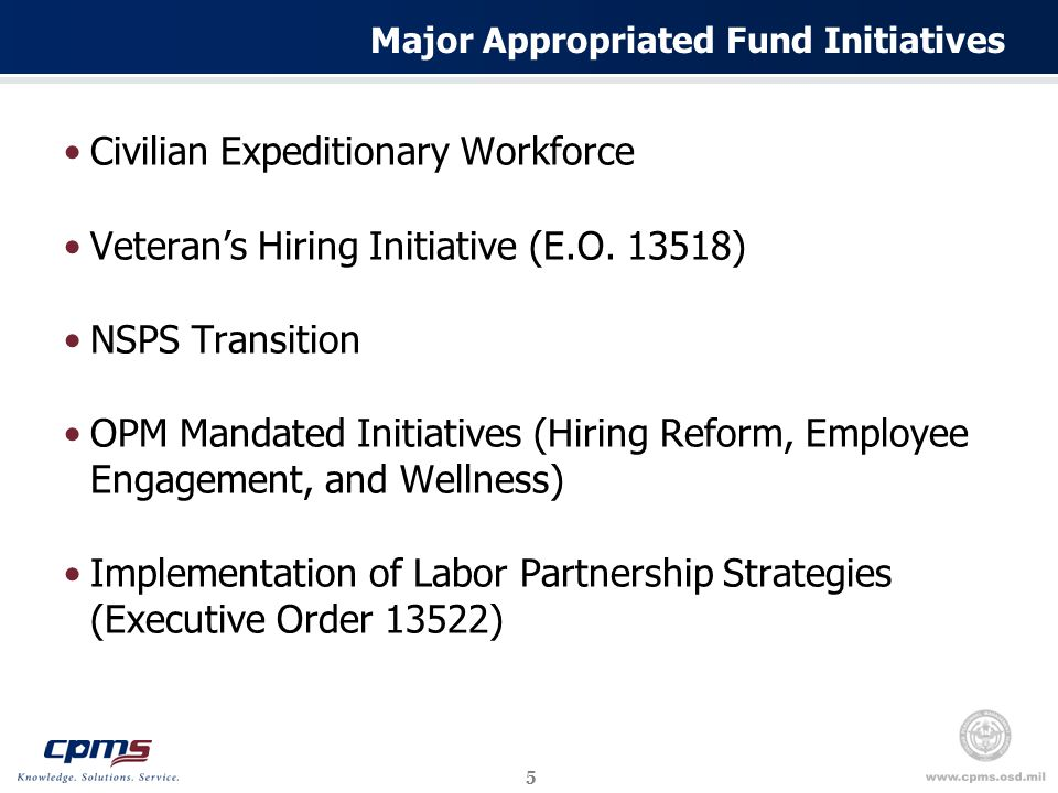 5 Major Appropriated Fund Initiatives Civilian Expeditionary Workforce Veteran's Hiring Initiative (E.O.