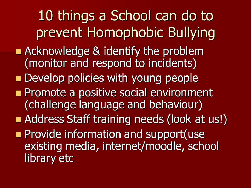 10 things a School can do to prevent Homophobic Bullying Acknowledge & identify the problem (monitor and respond to incidents) Acknowledge & identify the problem (monitor and respond to incidents) Develop policies with young people Develop policies with young people Promote a positive social environment (challenge language and behaviour) Promote a positive social environment (challenge language and behaviour) Address Staff training needs (look at us!) Address Staff training needs (look at us!) Provide information and support(use existing media, internet/moodle, school library etc Provide information and support(use existing media, internet/moodle, school library etc