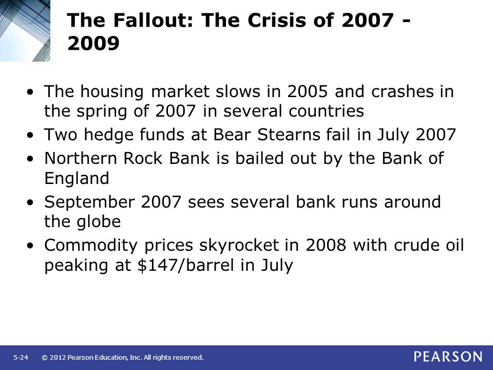 © 2012 Pearson Education, Inc. All rights reserved.5-24 The Fallout: The Crisis of 2007 - 2009 The housing market slows in 2005 and crashes in the spr