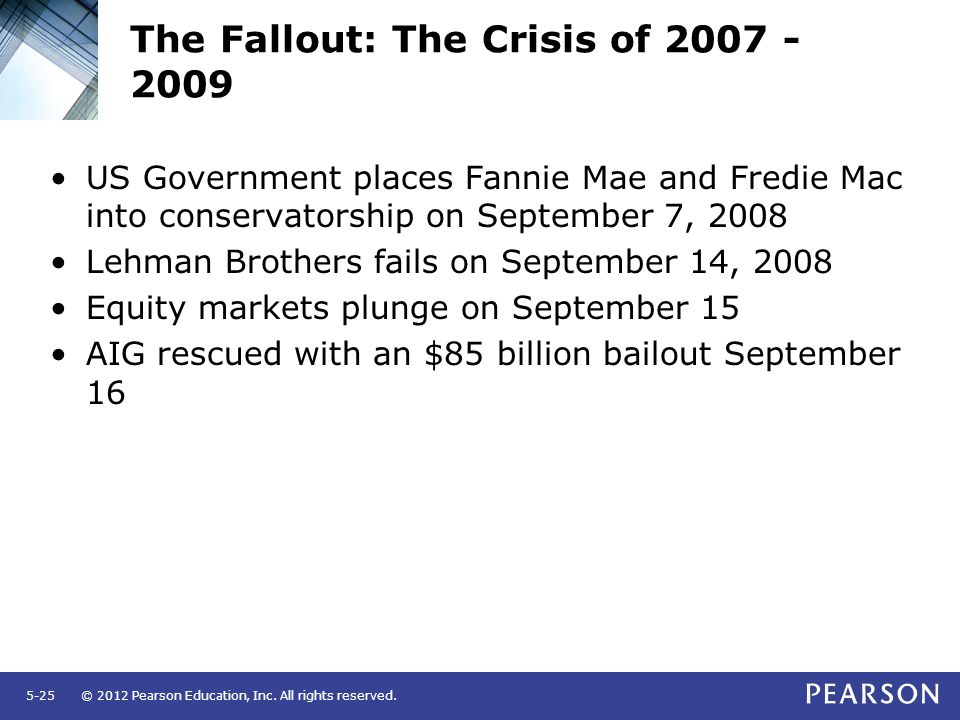 © 2012 Pearson Education, Inc. All rights reserved.5-25 The Fallout: The Crisis of 2007 - 2009 US Government places Fannie Mae and Fredie Mac into con