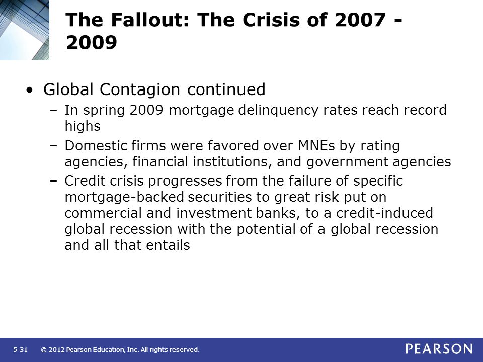 © 2012 Pearson Education, Inc. All rights reserved.5-31 The Fallout: The Crisis of 2007 - 2009 Global Contagion continued –In spring 2009 mortgage del