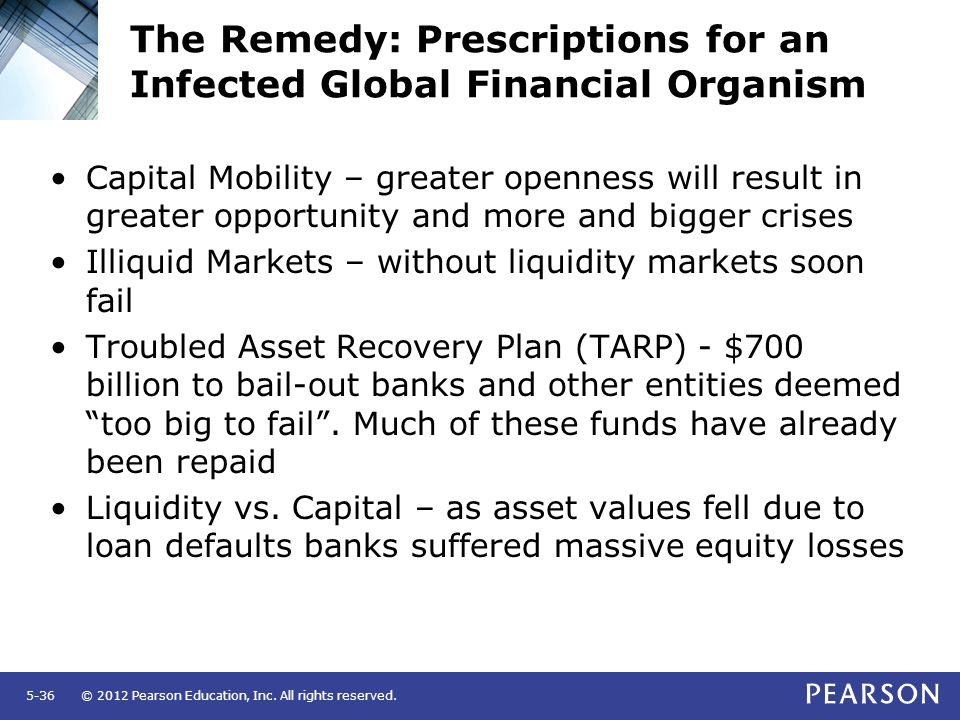© 2012 Pearson Education, Inc. All rights reserved.5-36 The Remedy: Prescriptions for an Infected Global Financial Organism Capital Mobility – greater