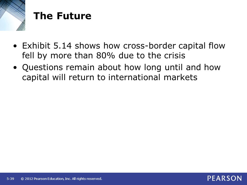 © 2012 Pearson Education, Inc. All rights reserved.5-39 The Future Exhibit 5.14 shows how cross-border capital flow fell by more than 80% due to the c