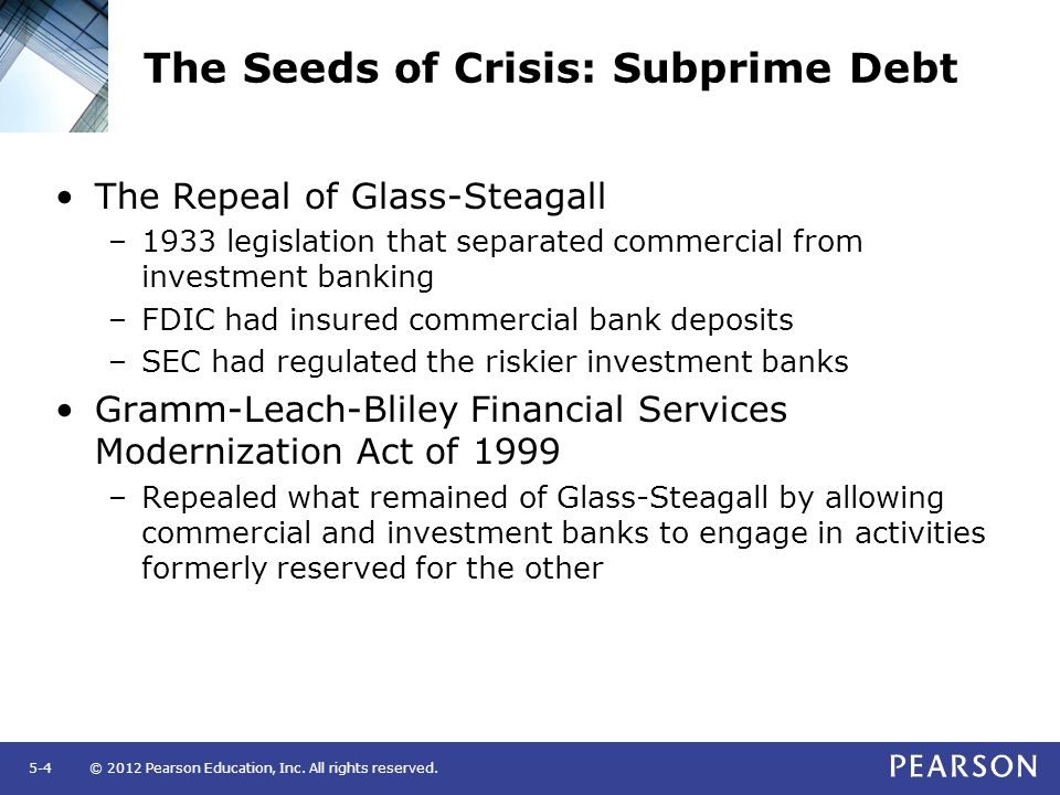 © 2012 Pearson Education, Inc. All rights reserved.5-4 The Seeds of Crisis: Subprime Debt The Repeal of Glass-Steagall –1933 legislation that separate