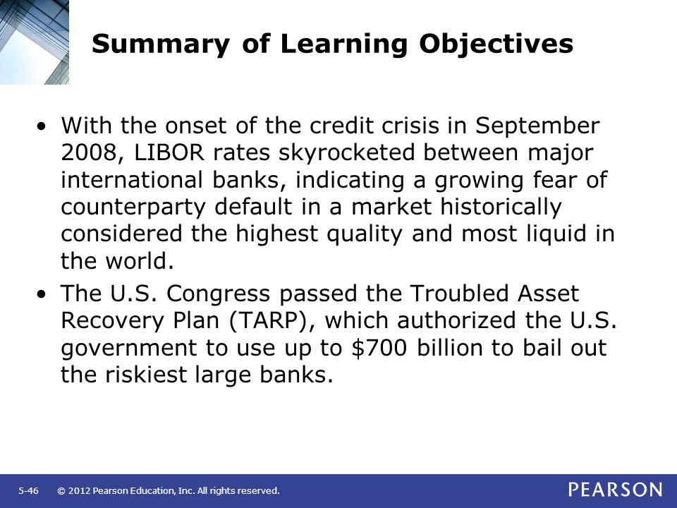© 2012 Pearson Education, Inc. All rights reserved.5-46 Summary of Learning Objectives With the onset of the credit crisis in September 2008, LIBOR ra