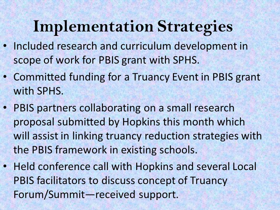 Implementation Strategies Included research and curriculum development in scope of work for PBIS grant with SPHS.