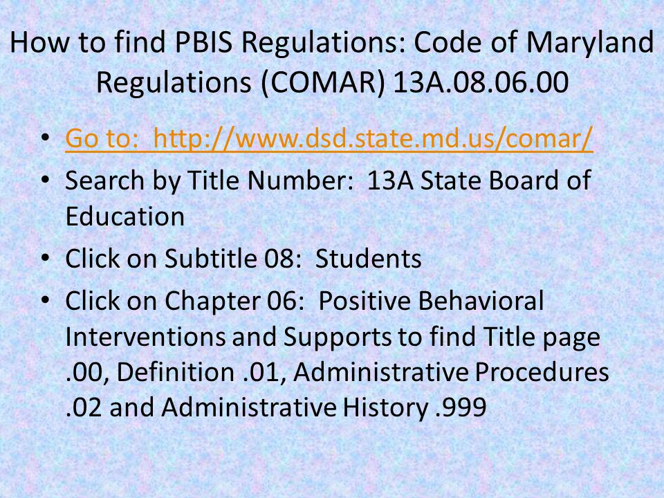 Positive Behavioral Interventions and Support Program defined in 7-304.1.